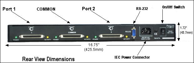 Rear View Dimensions of SCSI Switch Model SS1